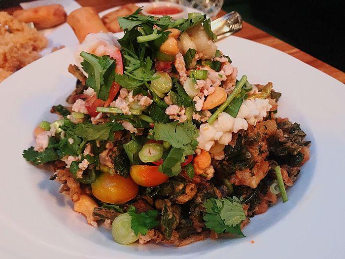 Food Plate Salad Watercress Crispysalad Spicysalad Thai Food Thairestaurant Thaifood Thai Food Thaifoodporn
