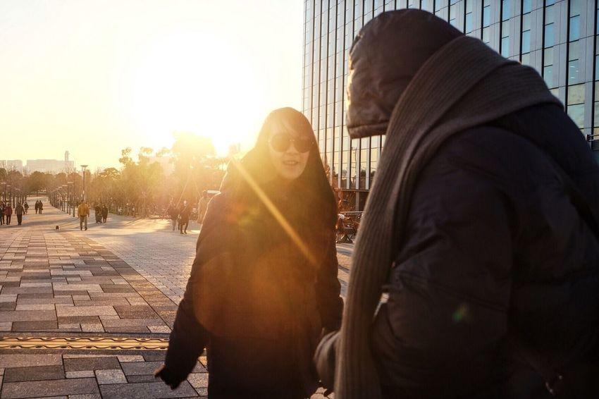 Bright Two People Sunset Japan Street Garden Conversation