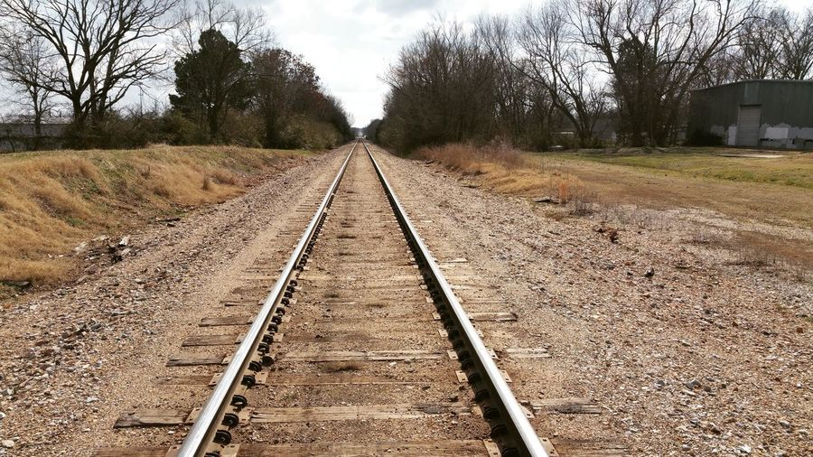 Rails Railroad Track Rail Transportation The Way Forward Transportation Tree Sky Day Outdoors No People Nature Cloud - Sky Parallel Landscape No Edit/no Filter Rogers Arkansas