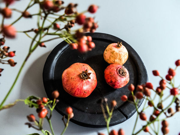Beautiful Beautiful Nature Berry Fruit Black Bowl Close-up Colorful Dish Fit Food Food Freshness Fruit Fruits Healthy Eating Healthy Food Hip No People Plate Pomegranate Rose Hips Wood - Material