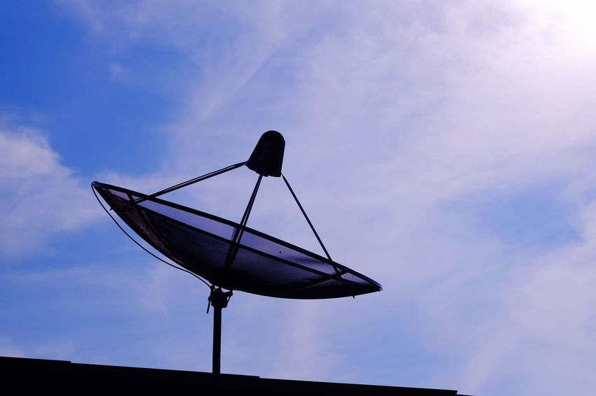 satellite dish on roof with bluesky Roof Cloud Blue Sky Bluesky Communication Satellite Communication Technology Cloud - Sky Sky Connection Satellite Dish Telecommunications Equipment No People Day Outdoors Architecture