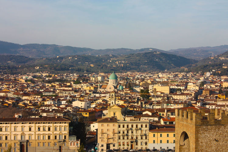 Panorama of the roofs of the city of florence, the tuscan capital, seen from the top of a small hill