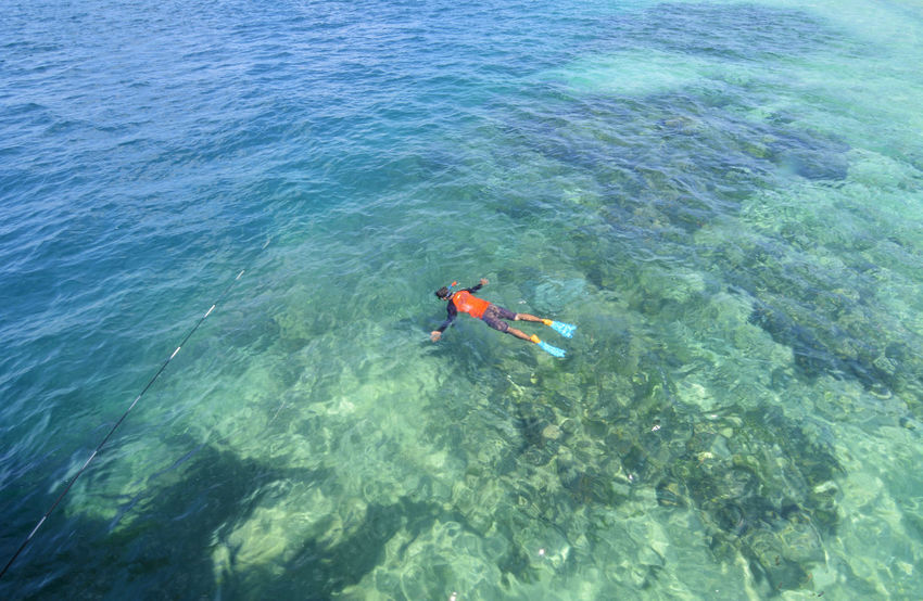 Adventure Beauty In Nature Blue Clear Water Day Diving Diving Time Leisure Activity Lifestyles Nature Outdoors Rippled Tranquility Unrecognizable Person Vacations Water Waterfront