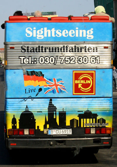 A Taste Of Berlin Behind A Bus Berlin City Tour Bus Berlin Photography Sightseeing Bus Close-up Communication Day Land Vehicle No People Outdoors Text #FREIHEITBERLIN