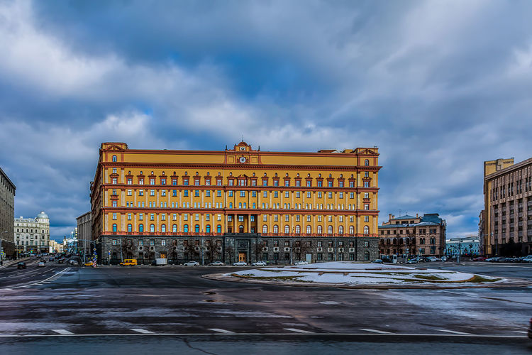 View of lubyanka building against cloudy sky