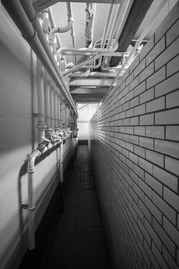 Fort Eben Emael Architecture Bathroom Blackandwhite Built Structure Corridor Eben Emael No People Pipe - Tube The Way Forward Tiles Ww2