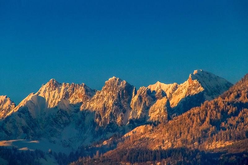 The wild kaiser at sunset in the kaiser mountains alps tirol austria