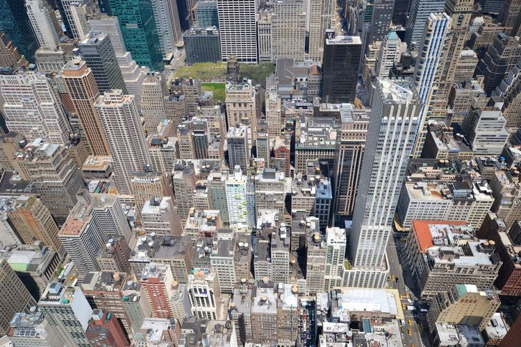 High angle view of modern buildings at manhattan