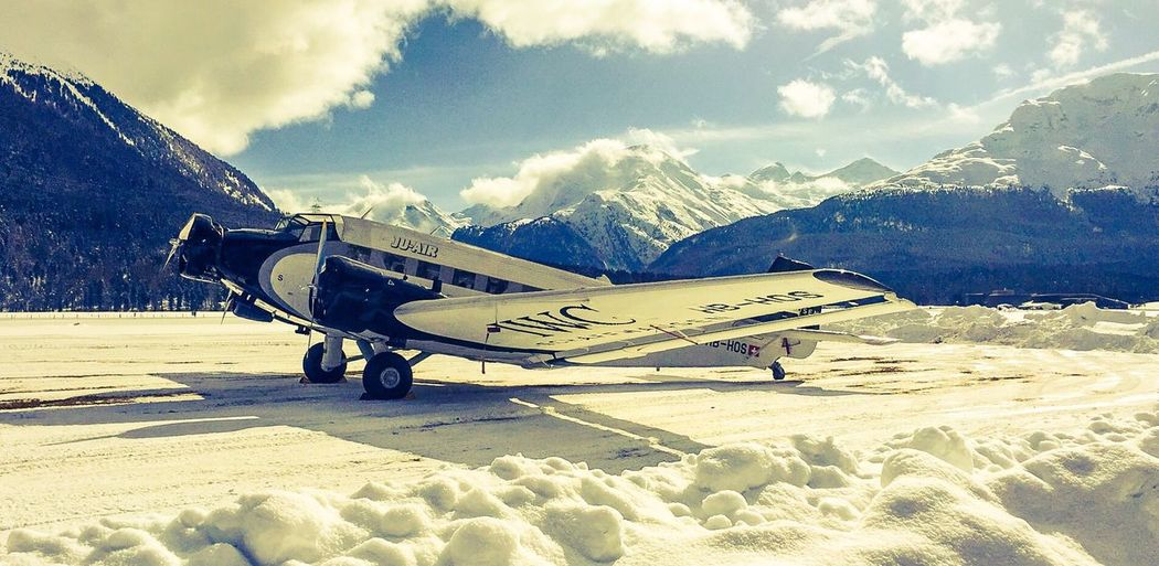 With a Touch of nostalgia Winter Mountain Iwc IWC Schaffhausen Junkers JU52 Tante Ju Samedan St. Moritz Historic Airplanes Mountain Mania Top Of The World Planespotting Engadin Switzerland Highlife Engadin Airport Nostalgia Nostalgic  Psexpress Transportation Travel Destinations Tourist Attraction  Ju-Air Snow