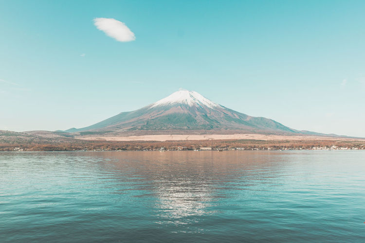 Mount FuJi Fujiyama Landscape Blue Sky Dot Cloud Reflection Autumn Clear Sky Clear Water