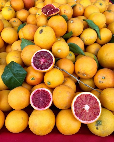 High Angle View Of Blood Oranges At Market For Sale