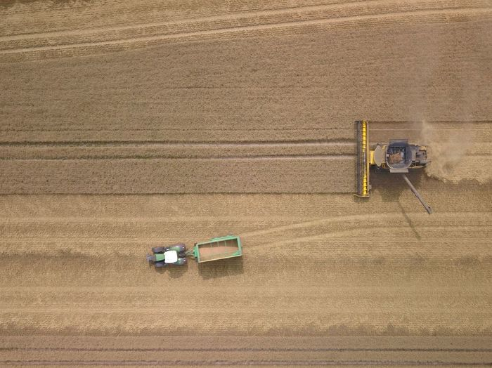 Farm Agriculture Rural Scene Agricultural Machinery Landscape Land High Angle View Harvesting Agricultural Equipment Field Machinery Tractor Environment Working Crop  Combine Harvester Aerial View Land Vehicle Nature Day