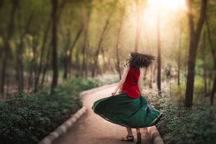 Enchanted woods, Delhi, India. Atmosphere Beauty Beauty In Nature Butterflies Day Dream Dreamy Dress Enchanted  Fine Art Photography Forest Light Magic Moments Mood Motion Nature One Person Outdoors Path Tranquility Trees Woman Wood WoodLand Feel The Journey