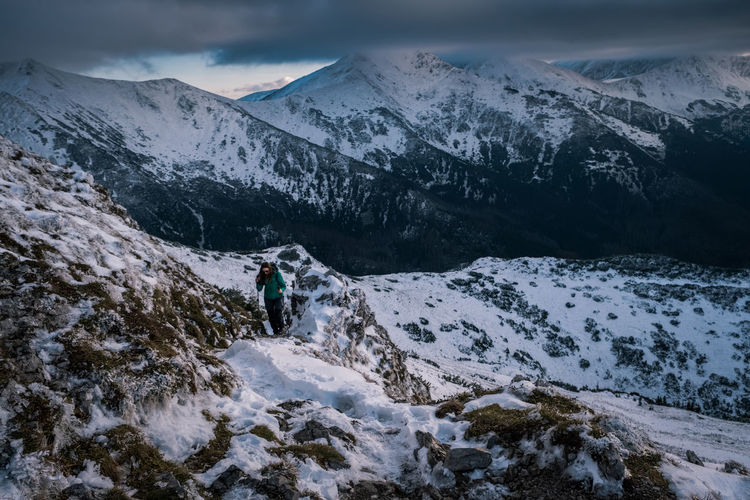 Mountaineering Tatra Mountains Tatry Activity Adventure Beauty In Nature Cold Temperature Hiking Landscape Leisure Activity Mountain Mountain Range Nature Outdoors Scenics - Nature Sky Snow Snowcapped Mountain Sport Winter