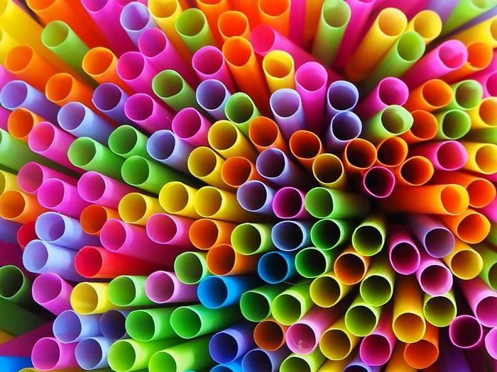 Full frame shot of multi colored straws