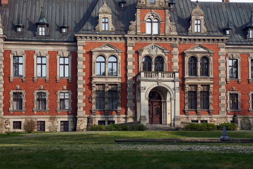The Ballestrem Palace is a three-winged building and presents the neo mannerism of the Dutch and the eclectic romanticism. The present palace was erected in the years 1882-1885 (in the place existing from 1737), according to the design of the master architect Konstanty Heidenreich from Kopice. Poland Architecture Building Building Exterior Built Structure Europe Nature No People Palace
