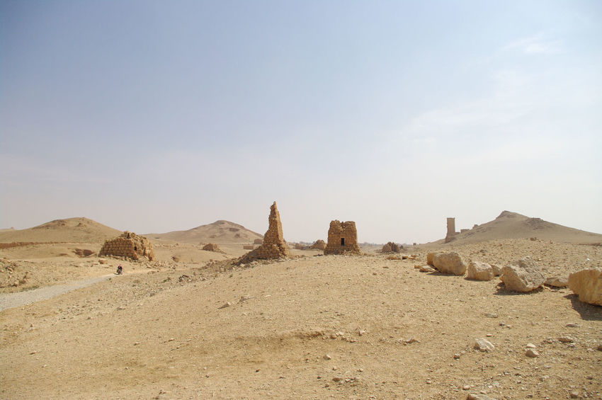 Palmyra Ruins Syria  Ancient Ancient Civilization Arid Climate Day Desert History Landscape Nature No People Outdoors Palmyra Sky Travel Destinations