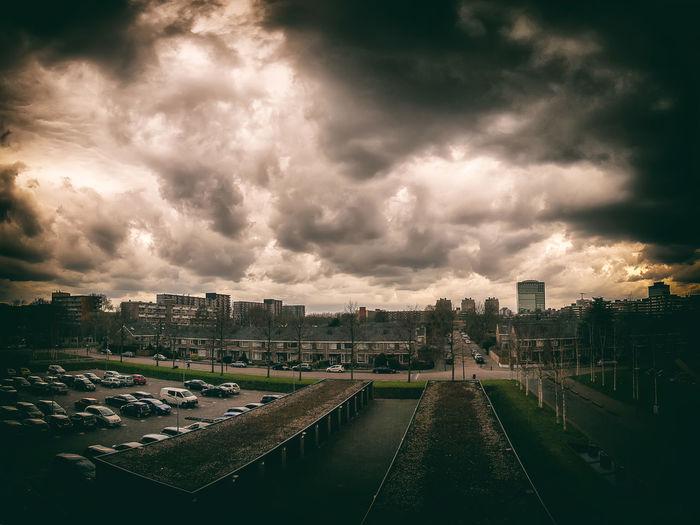 Rijswijk City Cityscape Urban Skyline Skyscraper Storm Cloud Sunset Illuminated Tree Politics And Government Dramatic Sky