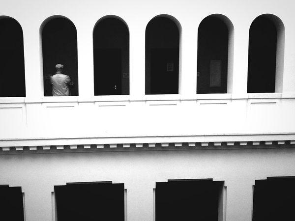 Architecture plain White Color Wall Man Allone