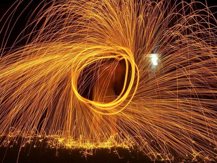 Circle Exploding Fire Heat - Temperature Illuminated Light Painting Light Trail Long Exposure Motion Movement Night Outdoors Speed Spinning Vibrant Color Wire Wool
