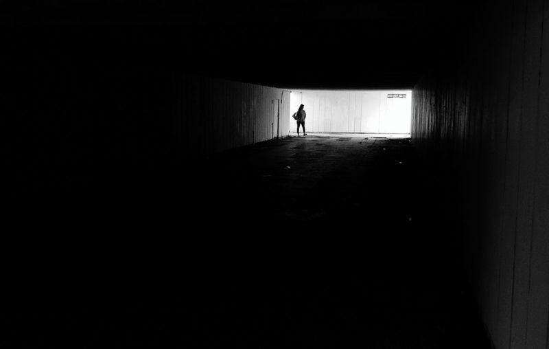 Silhouette One Person Back Lit Walking Full Length Lifestyles Only Men Indoors  Real People One Man Only Tunnel Distant People Men Adult Adults Only Cold Temperature Vacations Day Mobile Photography Mobilephoto Xiaomi Mi4c Mobile City