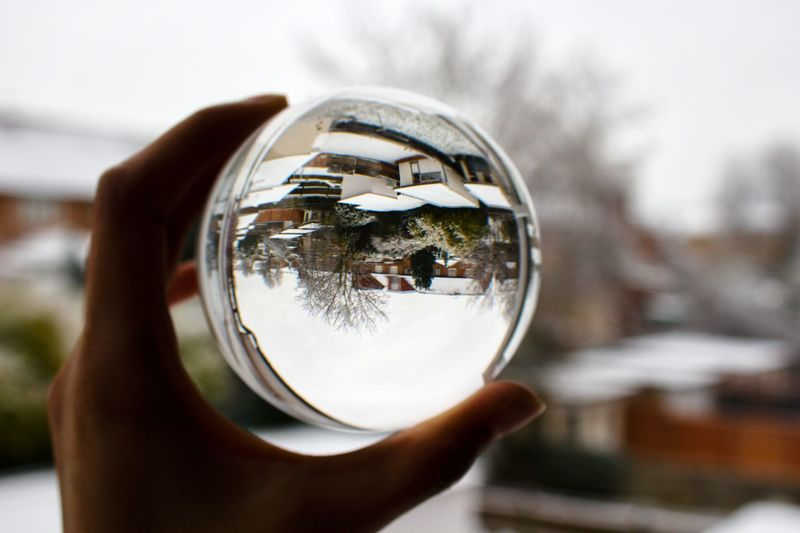 Winter snow through a Lens ball. Crystal Ball EyeEm Best Shots EyeEm Nature Lover Snow ❄ Wintertime Close-up Crystal Ball Day Focus On Foreground Holding Human Body Part Human Finger Human Hand Lensball One Person Outdoors People Real People Reflection Sky Trees And Sky EyeEmNewHere
