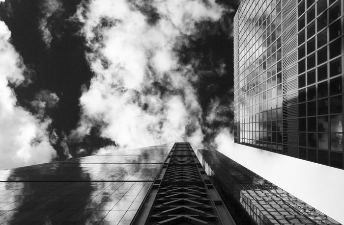 Architecture Black And White Black And White Photography Building City Life Cloud - Sky Dramatic Angles Glass - Material High Contrast London Low Angle View Modern Reflection Repeating Patterns Repetition Skyscraper