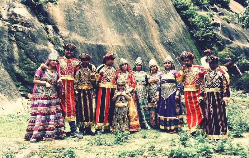 Large Group Of People Rock - Object Real People Mountain Day Men Outdoors Family Dress Culture Festival Fashion Heritage Standing Spirituality Togetherness Nature People Adult Indian Style