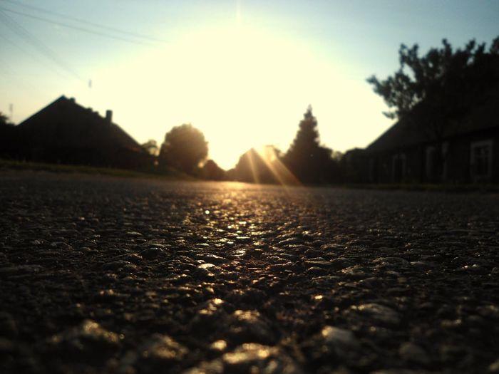 Road Sunset Asphalt Village
