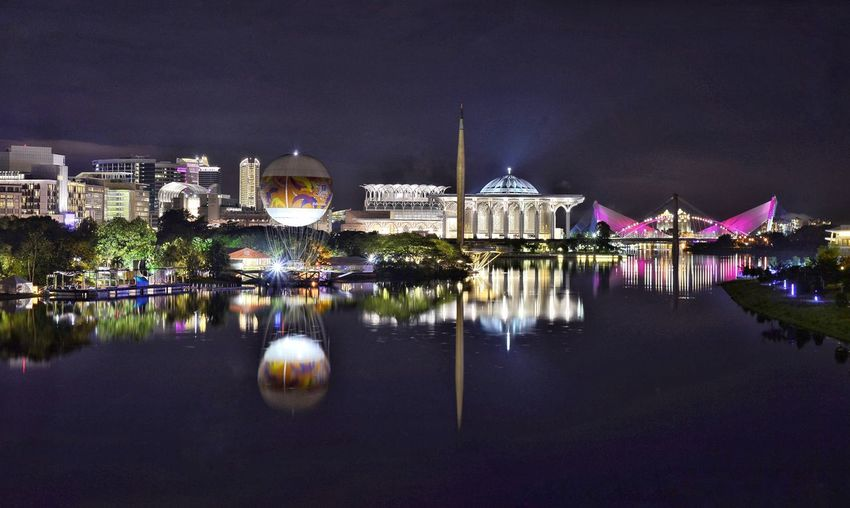 Putrajaya Nightphotography Putrajaya, Malaysia Masjid Tuanku Mizan Mosque Reflection Iconic Buildings Travel Destinations Tourist Attraction  Light Neon Night Lights Architecture Water Reflection Night Built Structure Sky Building Exterior