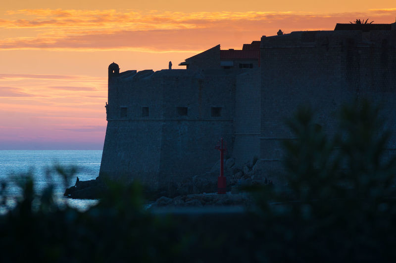 View of fort against sky during sunset