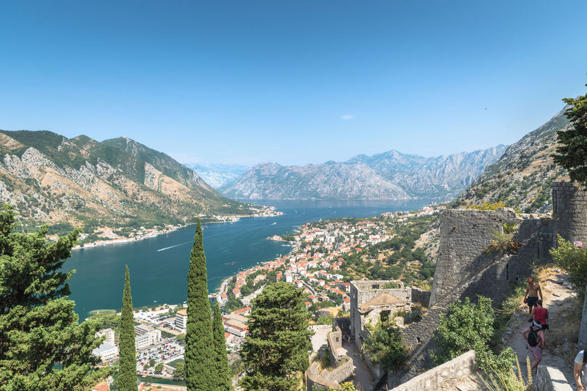 City walls of Kotor, Montenegro Landscape_Collection Travel Photography Architecture Beauty In Nature Blue Built Structure Cattaro Clear Sky Fortress Fortress In Europe Fortress Wall High Angle View Kotor Landscape Landscape_photography Montenegro Montenegro Wild Beauty Mountain Nature Outdoors Sky Sunlight Travel Destinations Tree Water