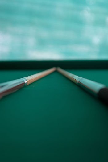 Close-up of a pool table