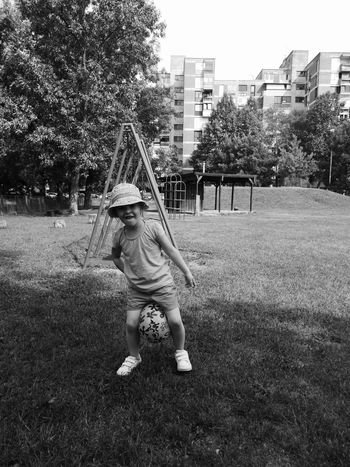Childhood Outdoors Fun Playing Children Only Ball Soccer Little Girl Bkackandwhite Parks And Recreation