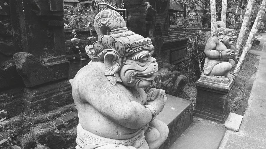 Art Is Everywhere Statue Sculpture Gunung Kawi Temple Black And White Edition