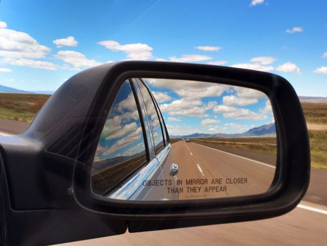 Side-view Mirror Side Mirror Side Mirror Shots Blue Skies + Clouds Blue Sky Clouds Vacation Goes Forever Long Drive Desert Clouds And Sky Utah