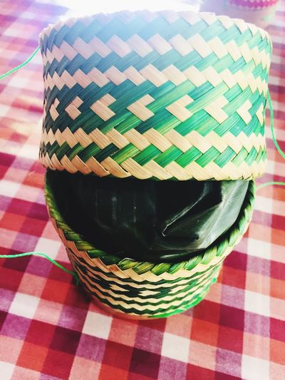 Table Checked Pattern Pattern Indoors  Food And Drink Tablecloth No People Food Still Life High Angle View Multi Colored Day Close-up Green Color Ready-to-eat Art And Craft Container
