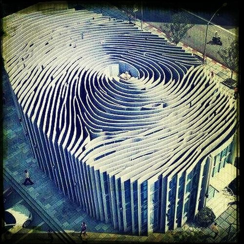 This is a building that resembles a finger print. Architecture Beautiful Finger Print Modern