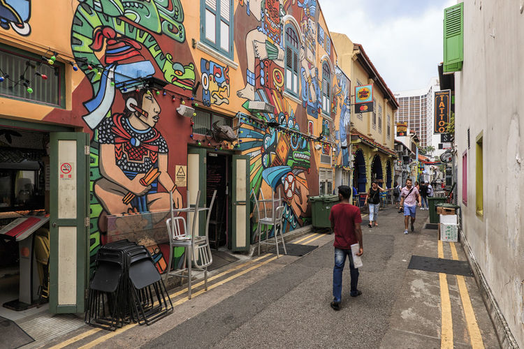Singapore, Singapore - October 17, 2018: Tourists walking in Haji Lane one of the most famous streets in Singapore Singapore ASIA Gardens By The Bay Orchard Marina Bay Sands Flower Dome Cloud Forest Dome Arab Street Haji Lane, Singapore Modern Art Museum Ocean