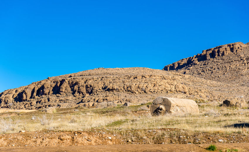 View of rock formations against clear blue sky