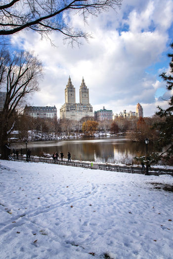 Central Park in the snow. Central Park Fall Colors New York City Reflection Architecture Building Exterior Built Structure Cold Temperature Foot Prints Outdoors Sky Snow Winter