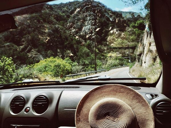 Adventures through the canyons of Los Angeles. California Los Angeles, California Topanga Canyon Road Trip Adventure Canyon Vehicle Interior Car Transportation Car Interior Land Vehicle Tree Mode Of Transport Day Windshield Dashboard No People Nature Mountain Close-up Sky Outdoors