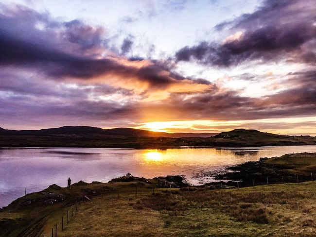 Waiting for life to pass me by. TCPM Sunset Landscape Dramatic Sky Scenics Cloud - Sky Reflection Water Nature Beauty In Nature Majestic Cloudscape Tranquility Travel Destinations Environment Tranquil Scene Outdoors Silhouette Lake Vacations No People EyeEm Seascape Photography Scotland Photooftheday Live For The Story The Great Outdoors - 2017 EyeEm Awards