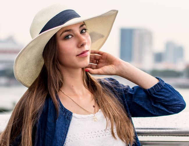 Girl with a hat Portrait Hat Looking At Camera Beauty Beautiful Woman Beautiful People Young Adult Long Hair One Person Focus On Foreground Outdoors One Young Woman Only (null)Headshot Fashion Model City Young Women
