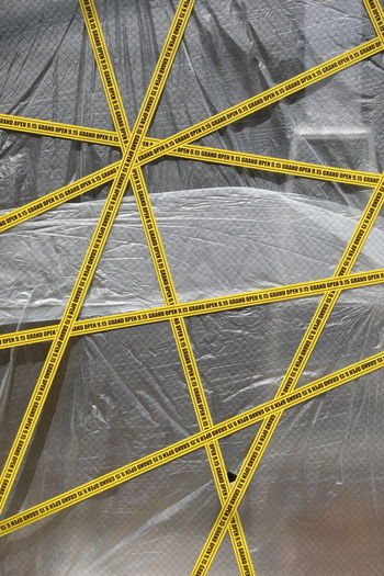 New shop front Lines Plastic Wrap Coming Soon Contrast Store Street Streetphotography Western Script Wrapped Yellow Tape