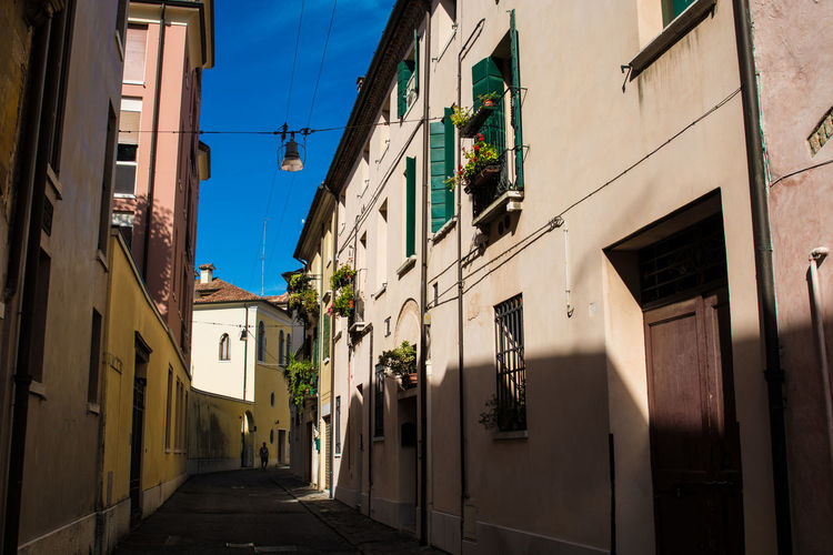 Alley Architecture Blue Building Building Exterior Built Structure City City Life Day Diminishing Perspective Empty Exterior Italy Narrow No People Outdoors Residential Building Residential District Residential Structure Sky The Way Forward Town Treviso