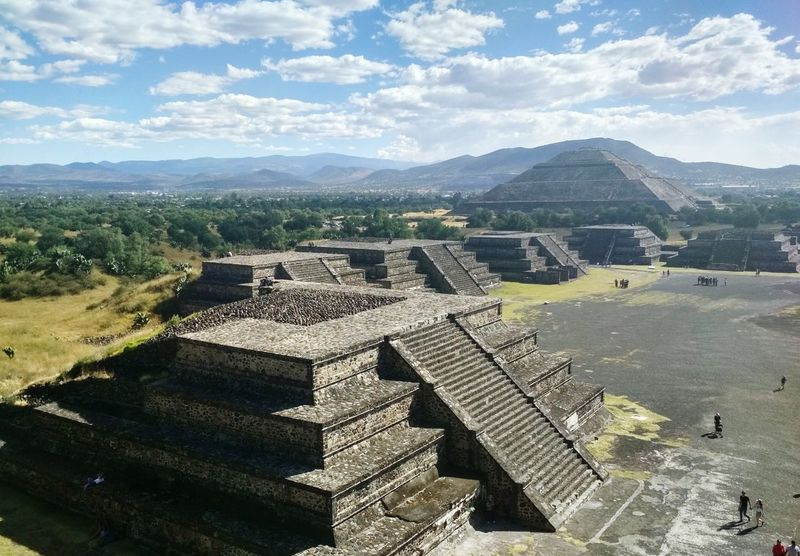 Teotihuacan, city where humans turn into from the moon pyramid. Aztec Stairs Staircase Pyramid Mexico Teotihuacan Culture The Traveler - 2018 EyeEm Awards Tree Mountain High Angle View Sky Architecture Pyramid Stairway Steps Ancient Civilization