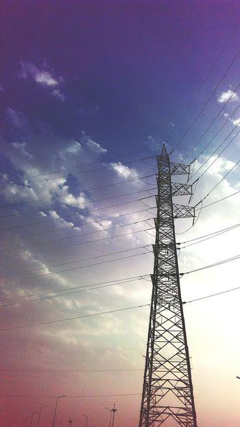 Pylon Alone in the Sky SSClickPics SSClicks SSClickpix Ssclickx Tower Pylon Blue Sky Conductors Colour Contrast Technology Sunset Copy Space Sky