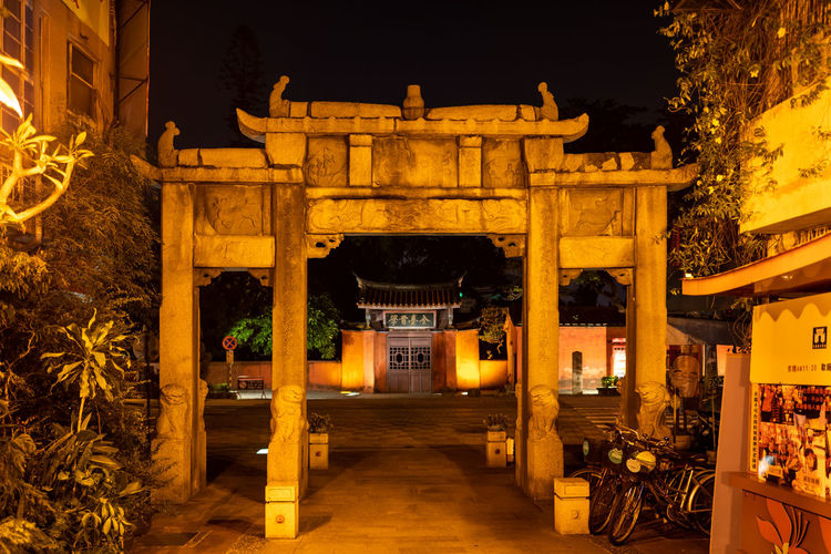 Tainan, Taiwan Architectural Column Architecture Belief Building Building Exterior Built Structure Entrance Gate History Illuminated Nature Night No People Religion The Past Tourism Travel Travel Destinations