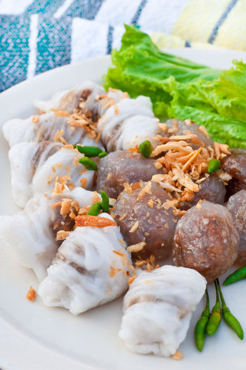 Steamed rice-skin dumplings and tapioca balls with pork filling. Thai delicious food. Asian Food Close-up Cuisine Culinaryfood Dessert Dish Dumplings Food Freshness Garlic Healthy Eating Meat No People Paprika, Green, Chillies Ready-to-eat Tapioca Transparent Vegetable